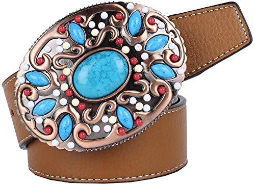 Gürtel Beads Leder Stiftwölbungsgurt Unisex Art und Weise Klassische Retro Wilde Länge (Color : Brown)