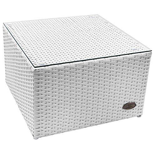 RS Trade 'Toscana' Polyrattan Beistelltisch mit verstärktem Alu-Gerüst und Temperglas Tischplatte (bis 90 kg als Hocker nutzbar), integrierte Spannbänder und höhenverstellbare Standfüße, Weiß - Weiße Outdoor-beistelltisch