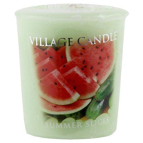 Frische Gurke Melone Kerze (Village Candle Sommerscheiben beduftete Votivkerze 57g, Glas, grün, 4.6 x 4.7 x 5.5 cm)