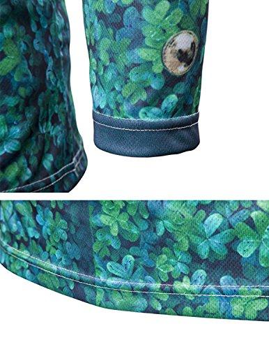 YCHENG Männer Anzug Mode 3D Druck Muster Slim Fit Langarm Rundhalsausschnitt T-Shirt Tops 1102L-G