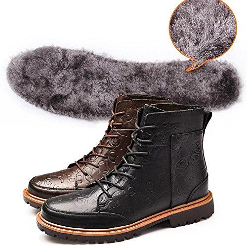 SYYAN Maschile Pelle Inverno Pizzo Alto Aiuto Cachemire Mantieni Caldo Stivali 38-44 black