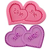 Clest F&H Double Hearts MR & MRS Shape Silicone Mould Fondant Kitchen Cake Molds for Chocolate Baking Tools