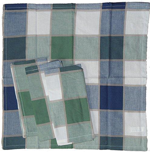 Serviette Baumwolle Stoff (4 Stück Stoff Servietten aus Baumwolle, 40 x 40 cm, kariert, verschiedene Fb. sort., durchgewebt (blau))
