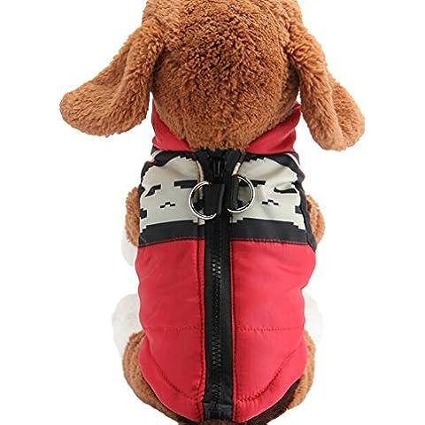 Scheppend Moda otoño Invierno cálido mascota Perro Chaleco Pequeño Perros Copa,rojo y negro M