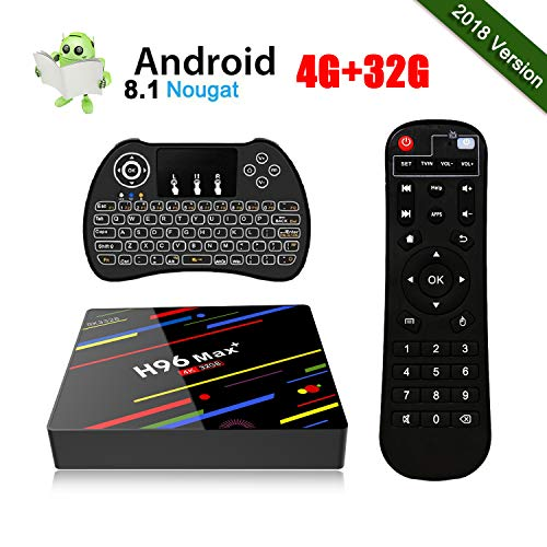 [2018 Version] Android 8.1 TV Box H96 Max+ 4GB + 32GB 4K Ultra HD Smart TV Box RK3328 Quad-Core 64bit CPU 2.4G WIFI 100M LAN Ethernet H.265 3D Set Top Box mit Mini Wireless Backlit Keyboard