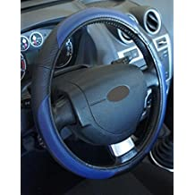 """'Excelente calidad,' universal Volante Negro Azul para Coche Anti tobogán diámetro 37–39cm + 1Adhesivo de PC """"rodillos coche Europa gratis"""