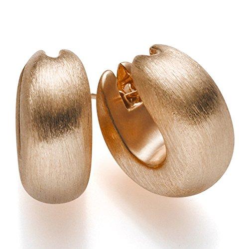 Paar Ohrringe Creole Creolen 20x7mm mattiert 585 Gold Rotgold Damen