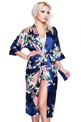 Edler Morgenmantel Kimono aus Satin dunkelblau Größe XL