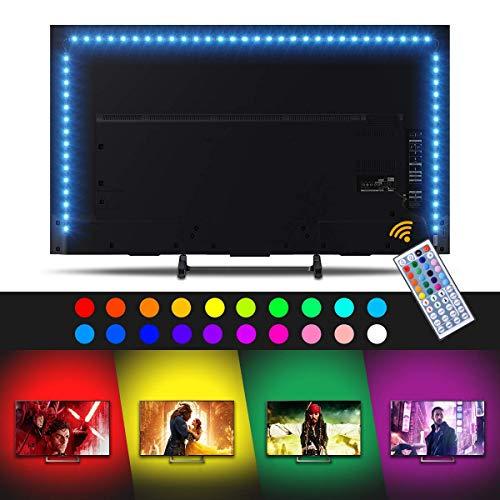 Sunix 2M RGB LED Tira de TV, Retroiluminación LED de TV USB con Control Remoto 44 Botones, Remoto para HDTV hasta 32 40 42 50 55 60 Pulgadas, Monitor De PC, Interior del Coche (4 x 50cm)