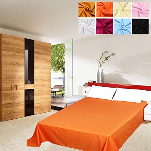 Auralum® Klassisches Betttuch aus 100% Baumwolle Matratzen Bettlaken Haustuch ohne Gummizug für Kinder und Babybetten,210x210cm,Orange (Ägyptische Baumwolle Stoff)