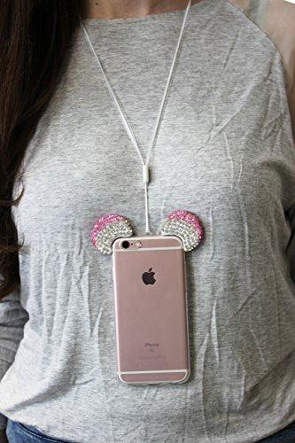 Custodia iPhone 6 Plus / 6s Plus Orecchie da Topolino , Cover Protettiva in Silicone Trasparente Morbida Flessibile con Laccio , Back Case Apple iPhone 6 Plus / 6s Plus con Strass Brillantini Femminil Argento Rosa