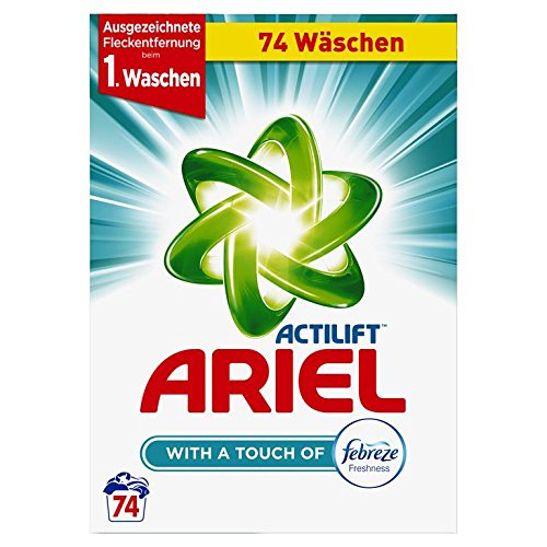 Ariel Vollwaschmittel mit Febreze Pulver, 1er Pack (1 x 74 Waschladungen)