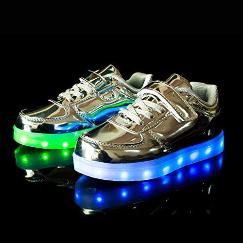 DoGeek Unisex Bambino Scarpe Con Luci Scarpe Led Luminosi Sneakers Con Luce Nella Suola Bright Tennis Shoes USB 7 Colori Lampeggiante Trainners Argento
