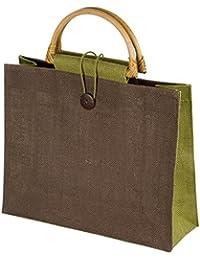 Piccola borsa donna shopping in juta colorata con 2 manici in bamboo