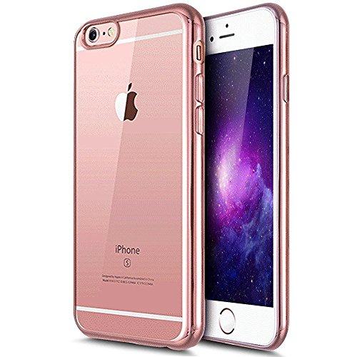 iPhone 7 Plus Hülle,iPhone 7 Plus 2016 Hülle,JAWSEU Luxus Gold Klare Ultradünne Silikon Gel Schutzhülle Durchsichtig Kristall Transparent TPU Silikon Bumper Schutz Handyhülle Case Tasche Etui für iPho Rose Gold#