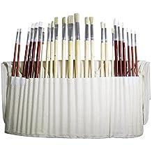 Kurtzy 24 Pinceaux Fins pour Art & Peinture –Ensemble de Pinceaux pour Artistes dans Etui de Rangement en Toile, Parfait pour Peinture à l'Huile, Acrylique ou à l'Eau. Super Kit pour Débutants & Pro