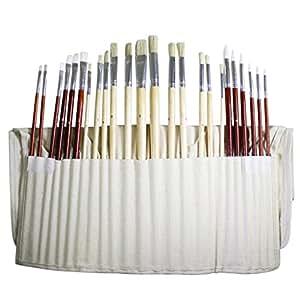 Kurtzy 24 Künstler Malpinsel Set – großes Künstler-Pinselset in einer Leinentasche – ideal für die Verwendung mit Öl-, Acryl- oder Wasserfarben. Beste Ausstattung für Anfänger und Profis