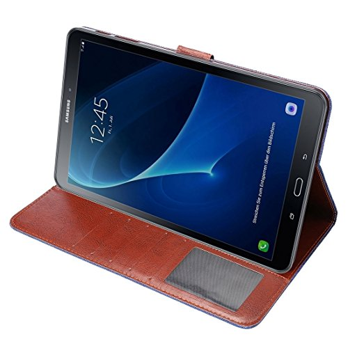 Wkae Case Cover Für Samsung Galaxy Tab A 10.1 / T580 Jeans Stoffoberfläche Horizontal Flip Ledertasche mit Kartensteckplätze und Halter & Wallet & Bilderrahmen ( Color : Dark Blue ) Dark Blue