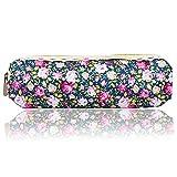Sanwood Frauen-Blumen-Blumenspitze-Bleistift-Feder-kosmetischer Beutel-Reißverschluss-Beutel (dunkelblau)