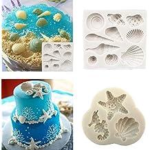 Molde de silicona para pasteles y conchas de chocolate, playa, estrella de mar,
