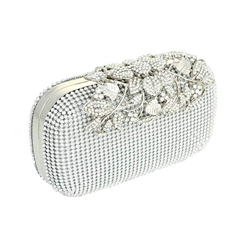 Adoraland Plata Color Diamante Cristal Noche Bolso