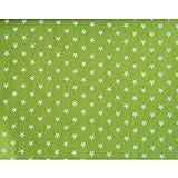 Qualitativ hochwertiger Jersey Stoff mit weißen Sternen auf Grün als Meterware mit Öko-Tex Zertifizierung zum kreativen Nähen von Erwachsenen, Kinder und Baby Kleidung, 50 cm