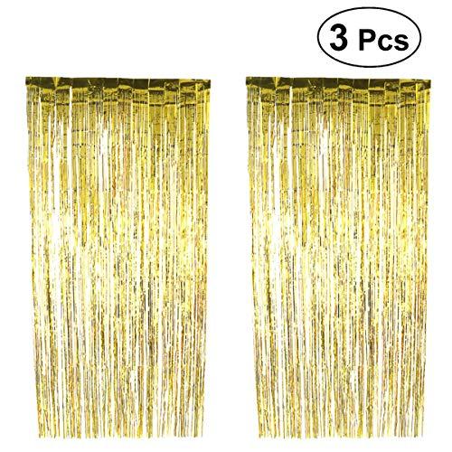 YeahiBaby Folie Vorhänge Golden Metallic Fringe Shimmer Decor für Weihnachten Geburtstag Hochzeit Party Decor 3pcs 1 x 2.5m