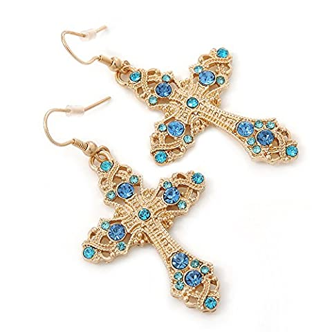 Light Blue Crystal Filigree Cross Drop Earrings In Gold Plating - 55mm Length