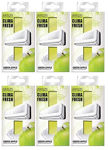 AREON Clima Fresh Ambientador Manzana Verde Casa Aire Acondicionado Olor Fruit Original Hogar Salón Oficina Tienda (Green Apple Pack de 6)