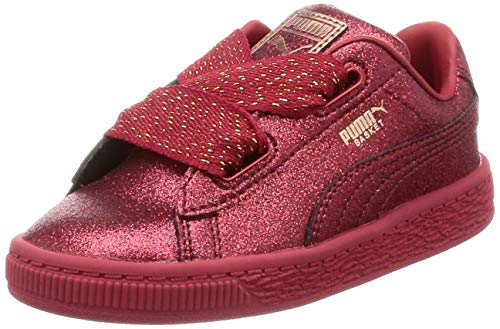 Puma Basket Heart Holiday Glamour Baby Mädchen Sneaker Ribbon Red-Rose Gold 5_Infant (Gold Baby Ribbon)