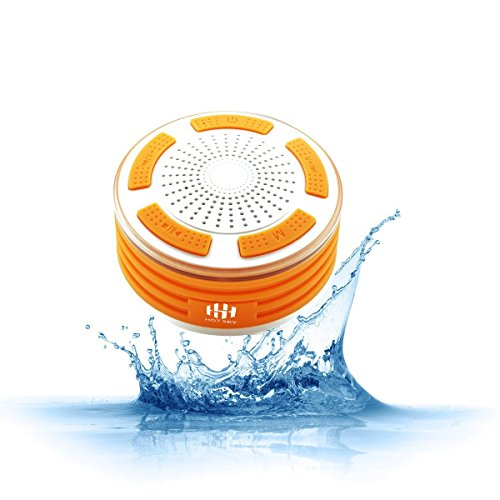 Hot Sky - Altoparlante Bluetooth - radio da doccia, completamente impermeabile IPX7, radio FM integrata e luci LED colorate per sport allaperto, casa, spiaggia, piscina, cucina, casa, iPhone, Android Orange & White