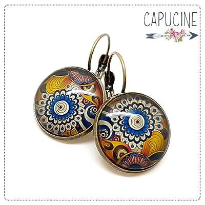 Boucles d'Oreilles Dormeuses cabochon verre Fleurs Psychédéliques et Spirales Bleu Jaune Orange