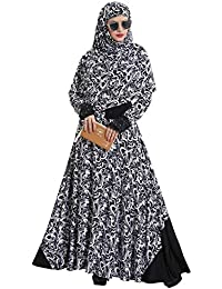 886b44f6c78 Tucute® Women's Abaya with Foral Embroidery and Black Diamond Stone  Work(Black and White_Free