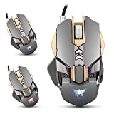 Gaming Mouse CW30 Wired Mäuse 7 Tasten 3200 DPI Return Rate Gewicht Tuning mit 4 Farbe Atmen LED-Licht,Gray