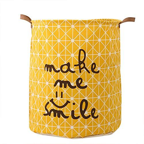 Kanggest Cubo Plegable de Lino y algodón Cesta para la Ropa Sucia, Bolsa de Almacenamiento para Colada. Barril Durable para Ropa (Amarillo)