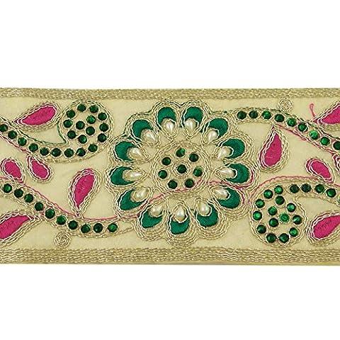 Weißer Ordnung Gestickten Blumenband Nähen Spitze Sari Kleidung Grenze Band Durch Den Hof