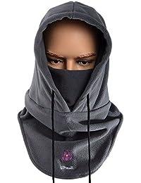 Pasamontañas, multiusos, uso térmico, forro polar con capucha, máscara, para actividades de invierno al aire libre, mujer hombre, color gris, tamaño talla única