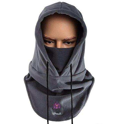Máscara pasamontañas de polar, de cara completa, para invierno y deportes al aire libre, resistente al viento, con capucha, hombre, color gris, tamaño talla única
