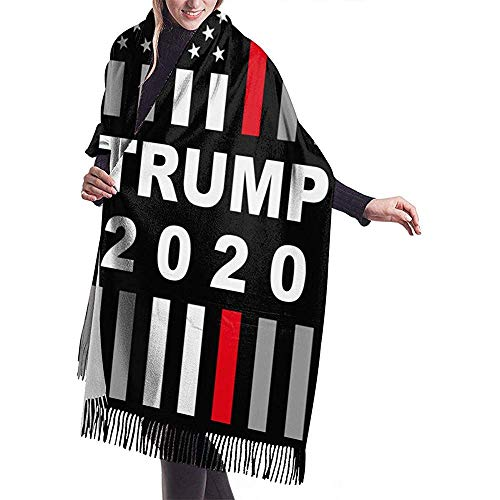 Elaine-Shop Trump 2020 USA Dünne Rote Linie Fahnendruck Wärmer Pashmina Schal Schal Übergroße Wickelschal Für Frauen