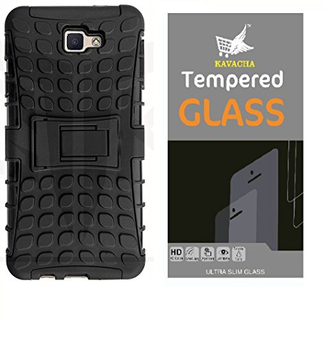 Tough Hybid Dual Layer ShockProof Armor with Kick Stand Back Case Cover for Samsung Galaxy J7 PRIME With Tempered glass