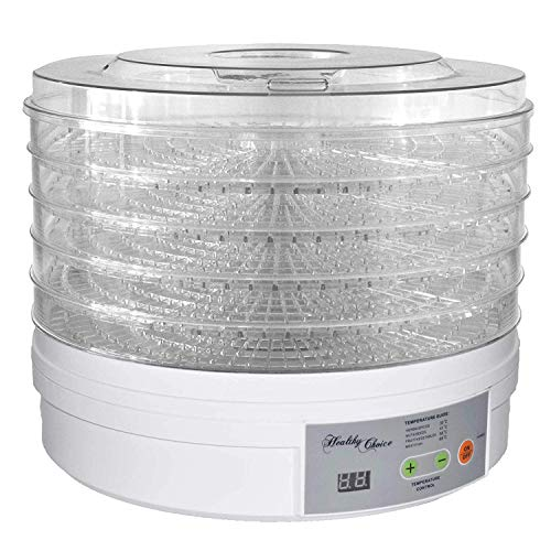 VDNSI Digital Portable Electric Food Fruit Dehydrator Machine with Adjustable Thermostat, BPA-Free 5-Tray(White)