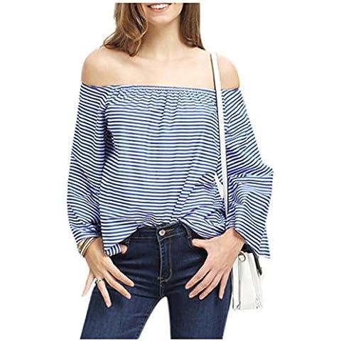 Culater® mujeres De manera atractivo del hombro floja ocasional de la blusa de manga larga Tops (L, Azul)