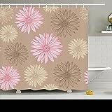 AlliuCoo Polyester-Duschvorhänge-Nahtlos Farben Pastell Rosa Beige Texturen Daisy Nature Blumen Design 182,9x 182,9cm Home Decor Badezimmer Bad Vorhang Set mit Haken