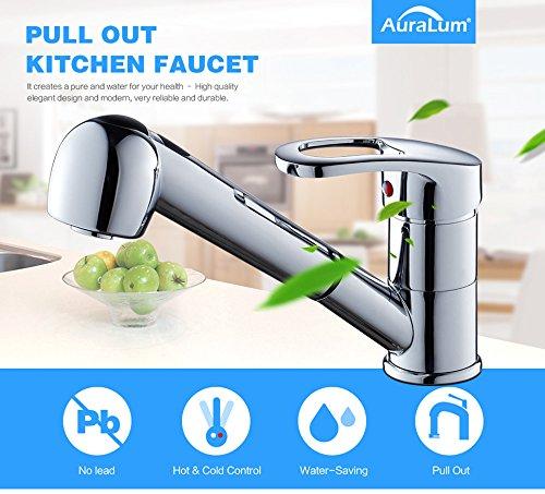 Auralum – Spültischarmatur mit herausziehbarer Geschirrbrause, Chrom - 7