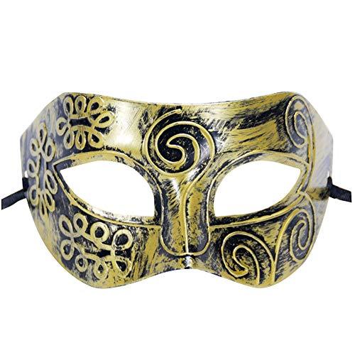 Maske, Halbgesicht-Accessoires, Halloween-Kostüm, Kunststoff, Gold, 16 * 9CM ()