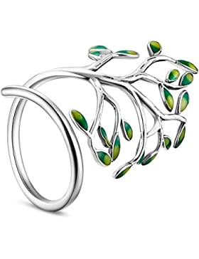 sweetiee–Ring offen 925Sterling Silber, Form von Zweig aus Email Grün, platin, 18mm