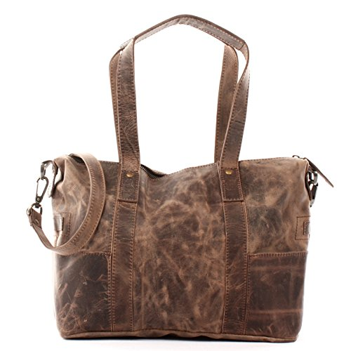 LECONI Shopper Vintage-Look Damen Henkeltasche Schultertasche Echt-Leder Natur Damentasche Ledertasche Umhängetasche Handtasche Leder 37x28x15cm schlamm LE0034-wax -