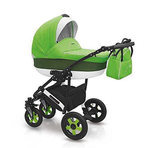 """Camarelo """"Carera"""" 3in1 Kombikinderwagen - Kinderwagen - Buggy mit Babyschale - Nr. 21 - grün"""