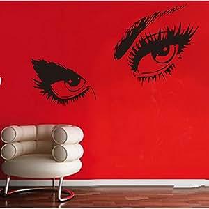 Stickers Muraux Hepburn Beaux Yeux Autocollant Papier Stickers Mural Réutilisable Pour Chambre Salon