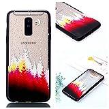 BONROY Muster geprägt Lack Gemalt TPU Zwei-in-One bruchsicher Handy Shell für Samsung Galaxy A6 Plus 2018 Transparent - (Lack Zwei in Einem roten Wald)